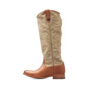 Frye Melissa Button Canvas Leather Riding Boot